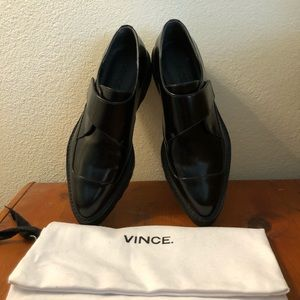 Vince Ames Leather Slip-on Creeper Black, size 6.